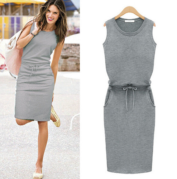 New arrival autumn fashion Europe brand design casual dress for women O-neck sleeveless cotton vest dresses