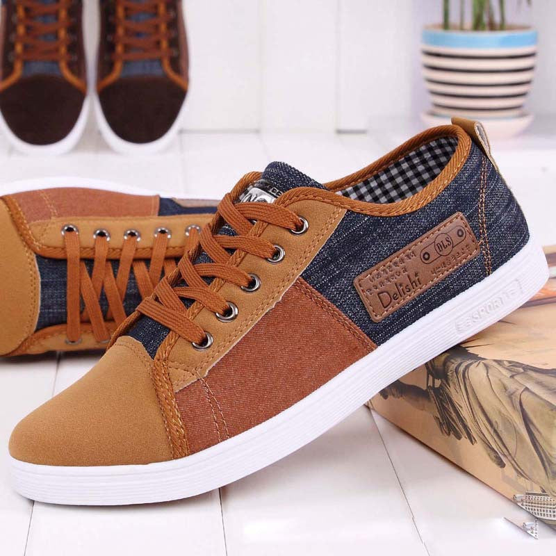 New arrival plimsolls canvas shoes men breathable Fashion patchwork men's sneakers lace-up platform casual gumshoes