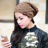 New reversible knitted winter female beanie hat women's warm hats women Chunky Baggy cap