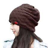 New reversible knitted winter female beanie hat,women's warm hats women Chunky Baggy cap