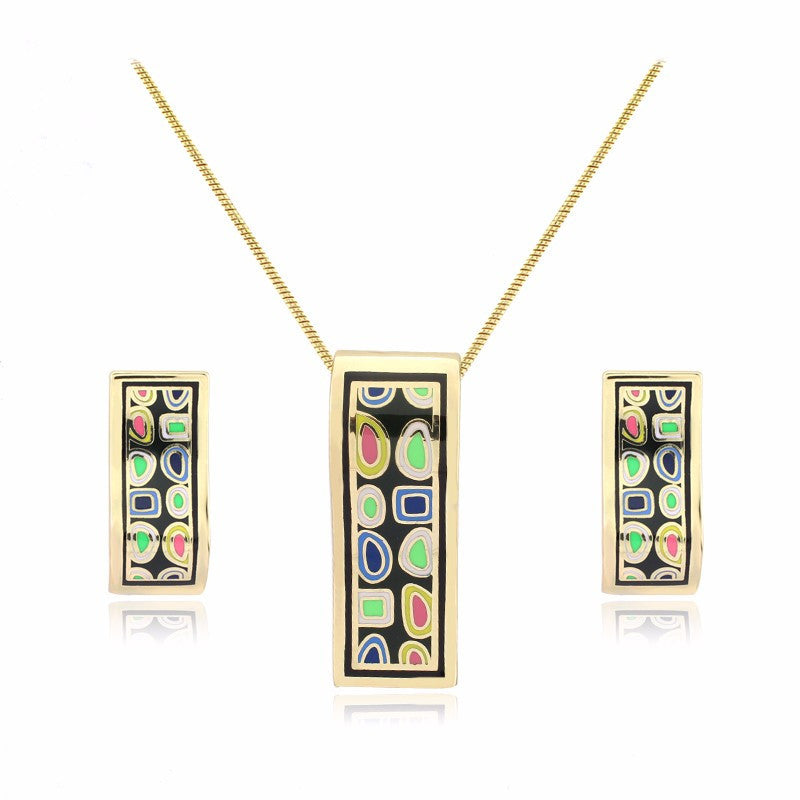New design gold plated colorful Geometry pattern Rectangular shape earrings & pendant necklace enamel jewelry set