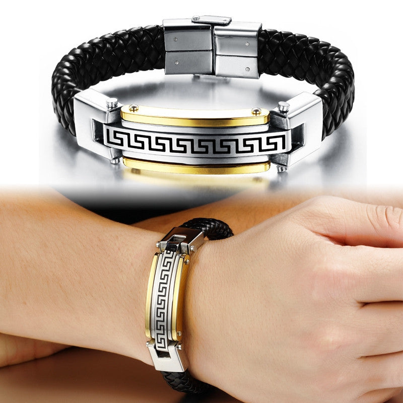 new fashion fine jewelry men great wall leather stainless steel bracelets vintage bangle male accessories