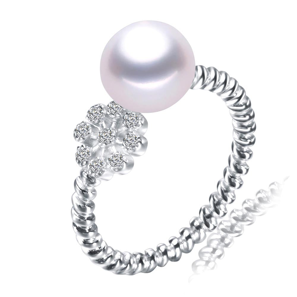 new fashion ring for women 8-9mm natural freshwater pearl jewelry 925 sterling silver paty ring white/pink/purple