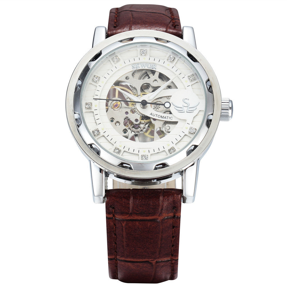 New fashion sewor brand design sport luxury male clock man mechanical hand wind military business wrist skeleton watch