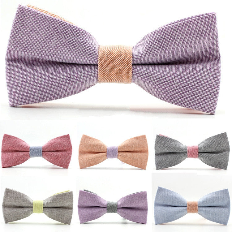 Newest men bowtie neck tie cotton wedding bow ties butterfly cravat neck tie solid color accessories