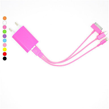 8 Pin 30 Pin and Micro 5 Pin to USB Charging Cable with EU Plug for iPhone and Others(20cm,5V,1A,Assorted Colors)