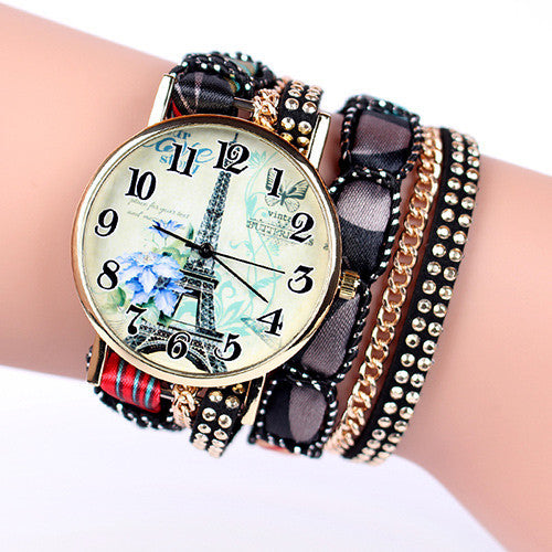 Popular Fashion Design Iron Tower Ladies Watches Casual Style Bracelet Watch Women S Apparel Geneva Watch Brand Long Chain