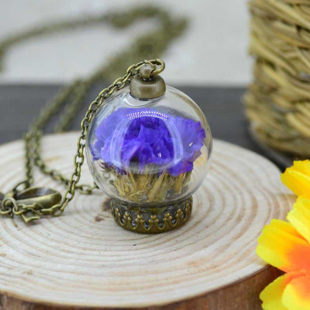Real natural air dried flowers necklace Glass Dome Pendant necklace antique Bronze chain Necklace Lavender Flower for women 88cm