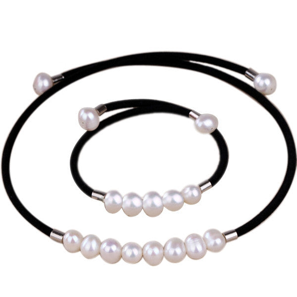 Real natural freshwater pearl jewelry sets necklace and bracelet for women charm black velvet Torques accessaries