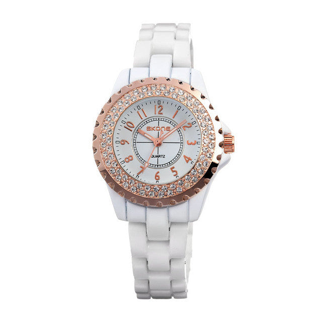 Fashion Rhinestone Luxury Brand Casual Watch Quartz 100% Genuine Ceramic Band Women's Dress Watches