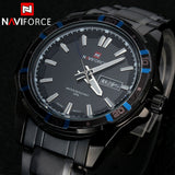 Luxury NAVIFORCE Brand Full Stainless Steel Quartz Watch Analog Display Date Sports Watch Men Casual Watches
