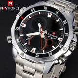 NAVIFORCE Luxury Brand Full Steel Watch Men Quartz Waterproof Watch Men Sports Watch Analog Digital LED Watch