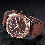 NAVIFORCE Luxury Brand Genuine Leather Strap Analog Date Men's Quartz Watch Casual Watches Men Wristwatch