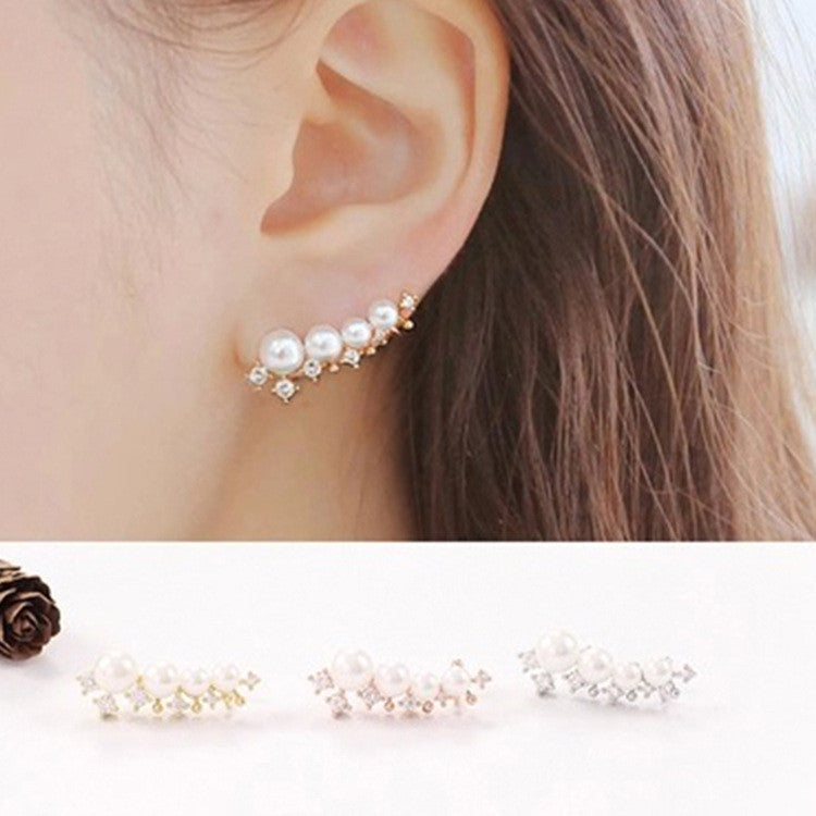 silver needle simulated pearl ear cuff earrings for women bijoux beautiful stud earrings fashion jewelry