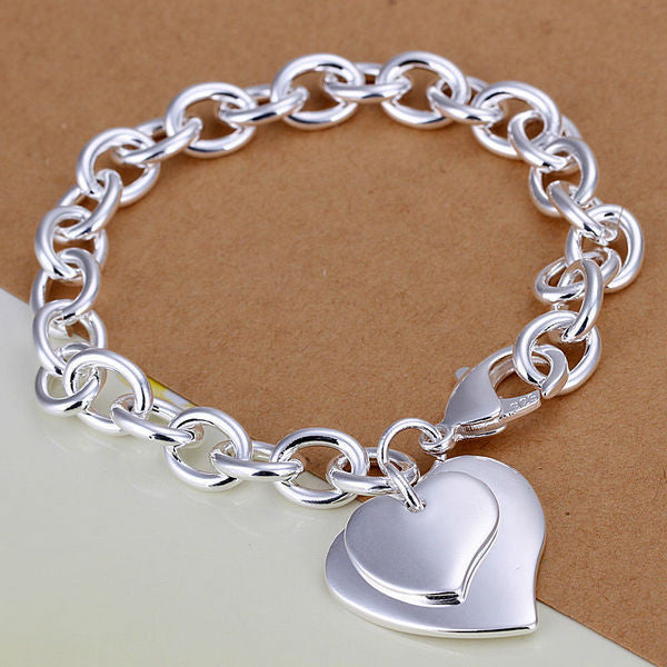 Fashion bracelet/bangle Jewelry trendy women double heart charm bracelets