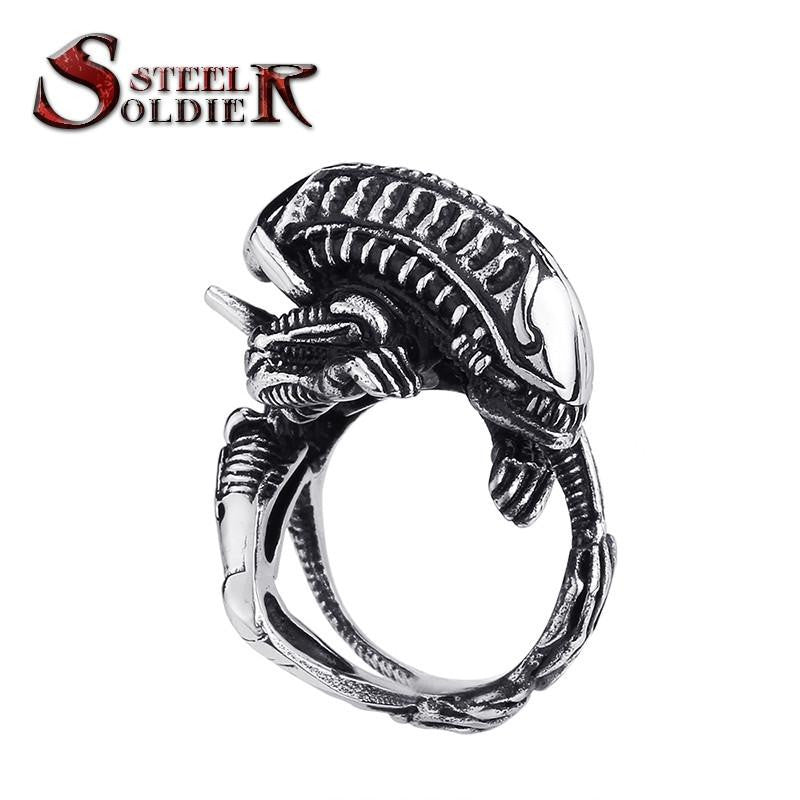 Steel soldier movie style Alien ring stainless steel good detail men ring titanium steel jewelry
