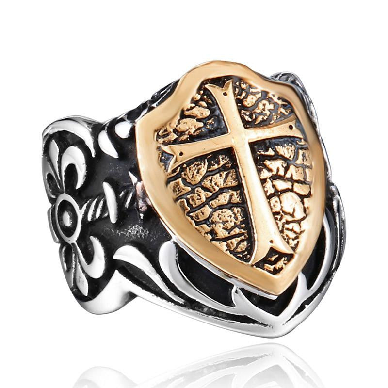 Steel soldier man biker ring personality Stainless Steel Knights Ring jewelry