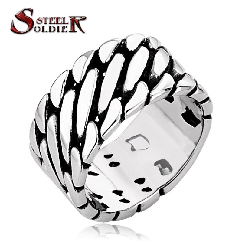 Steel soldier personality Wide Chain Knitting Ring Exagerrated Stainless Steel men biker Special Jewelry