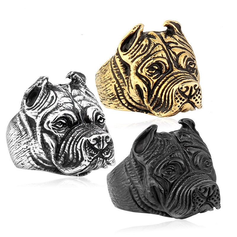 Steel soldier Exaggerated Ring Pit Bull Bulldog Dog Rings Men Personality Titanium Steel Animal Jewelry