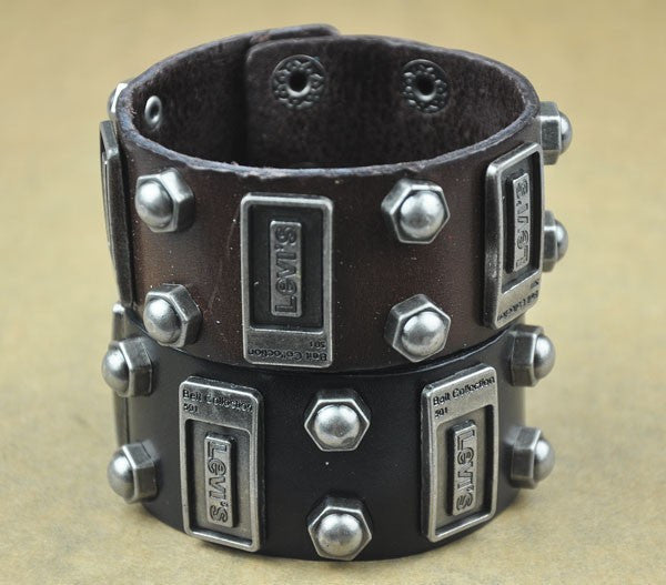 Summer style Men Woman Bracelets Rock Punk Leather Rock Cool Metal Stud Clasp Genunine Wrist Band Design Leather Bracelet