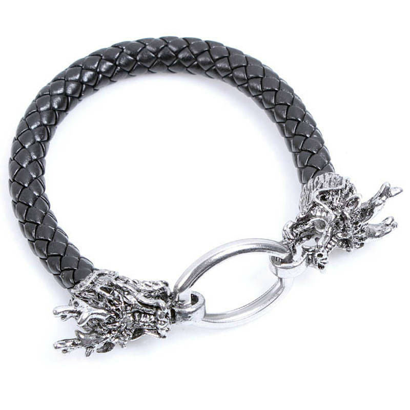 Geniune Leather Punk Dragon Bracelet Cuff Wristband For Men