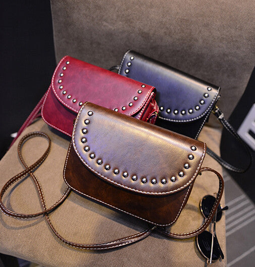 Vintage rivet mini leather handbags hotsale ladies party purse wedding clutches women small crossbody shoulder messenger bags