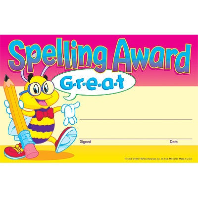 Spelling Award Recognition Award - literacy award - pack of 30 certificates