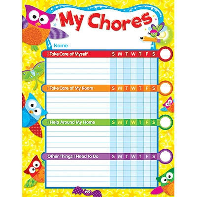 Owl Stars - 25 Chore Charts & stickers