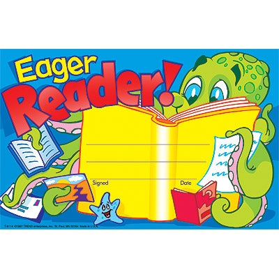 Eager Reader Recognition Award - pack of 30 certificates