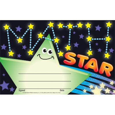 Math Star Recognition Award - pack of 30 certificates