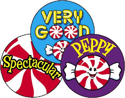 Peppy Peppermints Large Round Smelly Stickers - 60 stickers