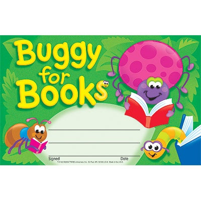 Buggy for Books Recognition Award - pack of 30 certificates - minibeasts