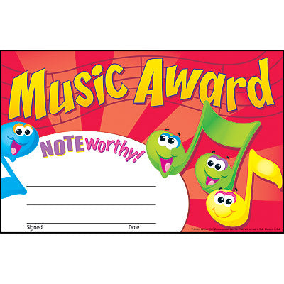 Music Award - pack of 30 certificates