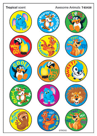 Awesome Animals Scented stickers - tropical scent - praise words - 60 per pack