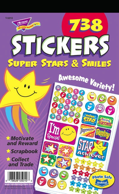 Super Stars & Smiles pad - 738 stickers