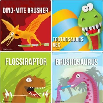 Dinosaur Dental stickers - 25 large stickers per pack