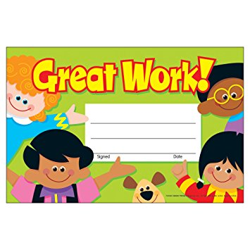 Great Work Recognition Award - pack of 30 certificates