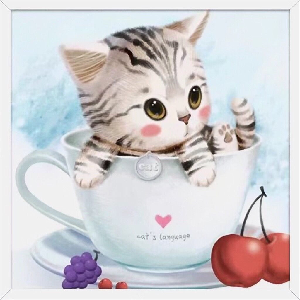 X078 Frame Crystal Cute Cat in a Cup Cherry