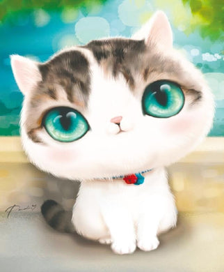 XD015 Frame Crystal Cat Green Eyes