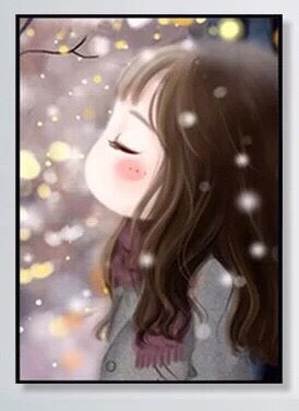 CD1105 Crystal 5D Winter Girl  30x40cm. (Full/Whole Crystal)