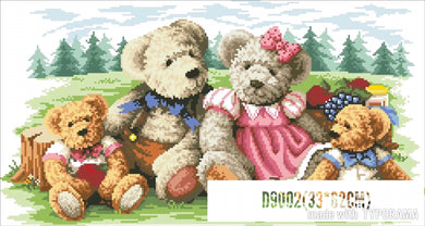 D5002 Crystal 3D Bear Family30*60