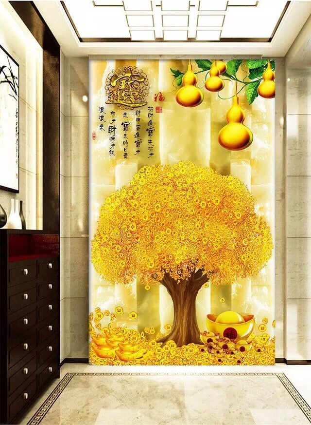 D5035 Crystal 3D Golden Tree 40*80