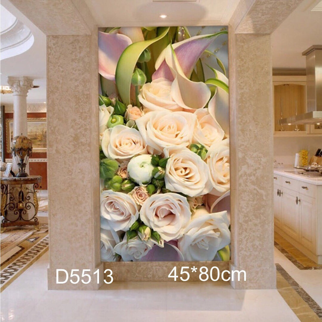 D5056 Crystal 3D White Rose45*80