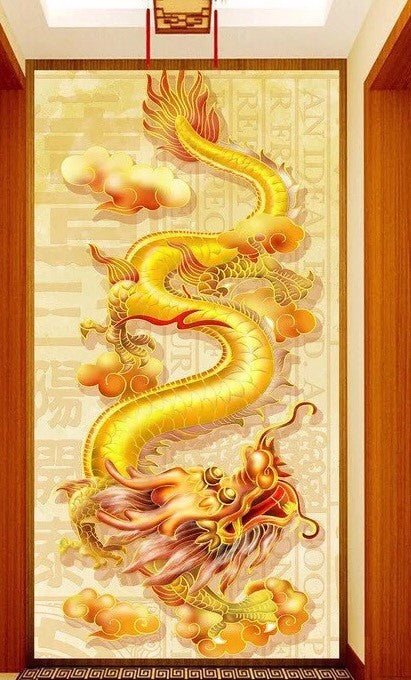 D5030 Crystal 3D Gold Dragon40*80