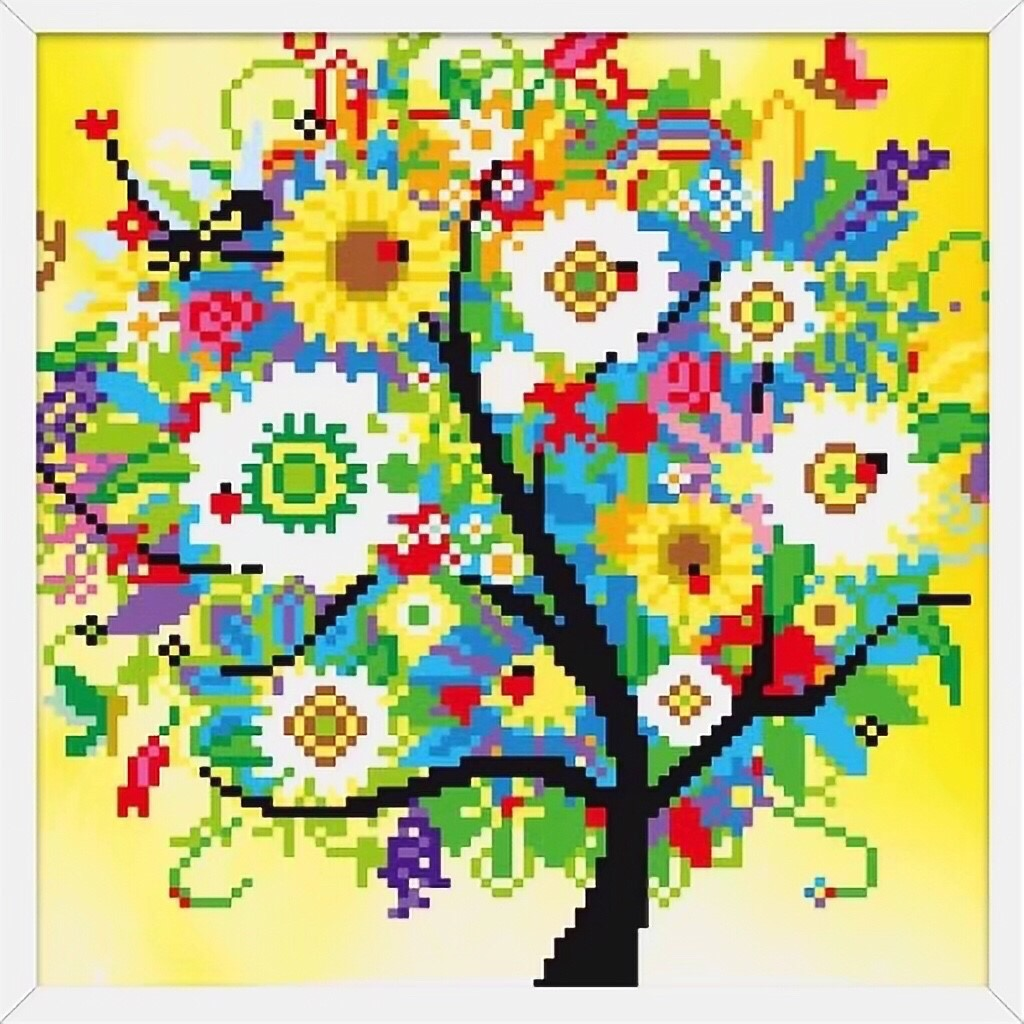 X041 Frame Crystal Colorful Tree