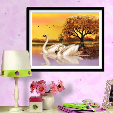 CD1002 Crystal 5D Swans30*40