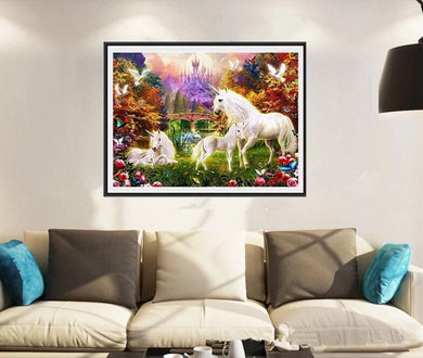 CD1043 Crystal 5D White Horse30*40