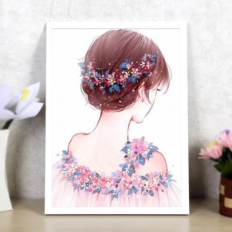 CD1154 Crystal 5D Lady with flower in hair Cm.30*40full