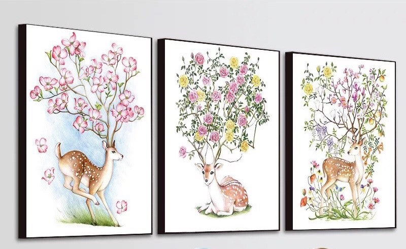 CD1146 Crystal 5D Set 3 Deers (Sitting Deer) Cm.30*40full