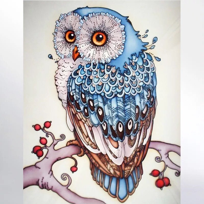 CD1144 Crystal 5D Blue Owl Cm.30*45full